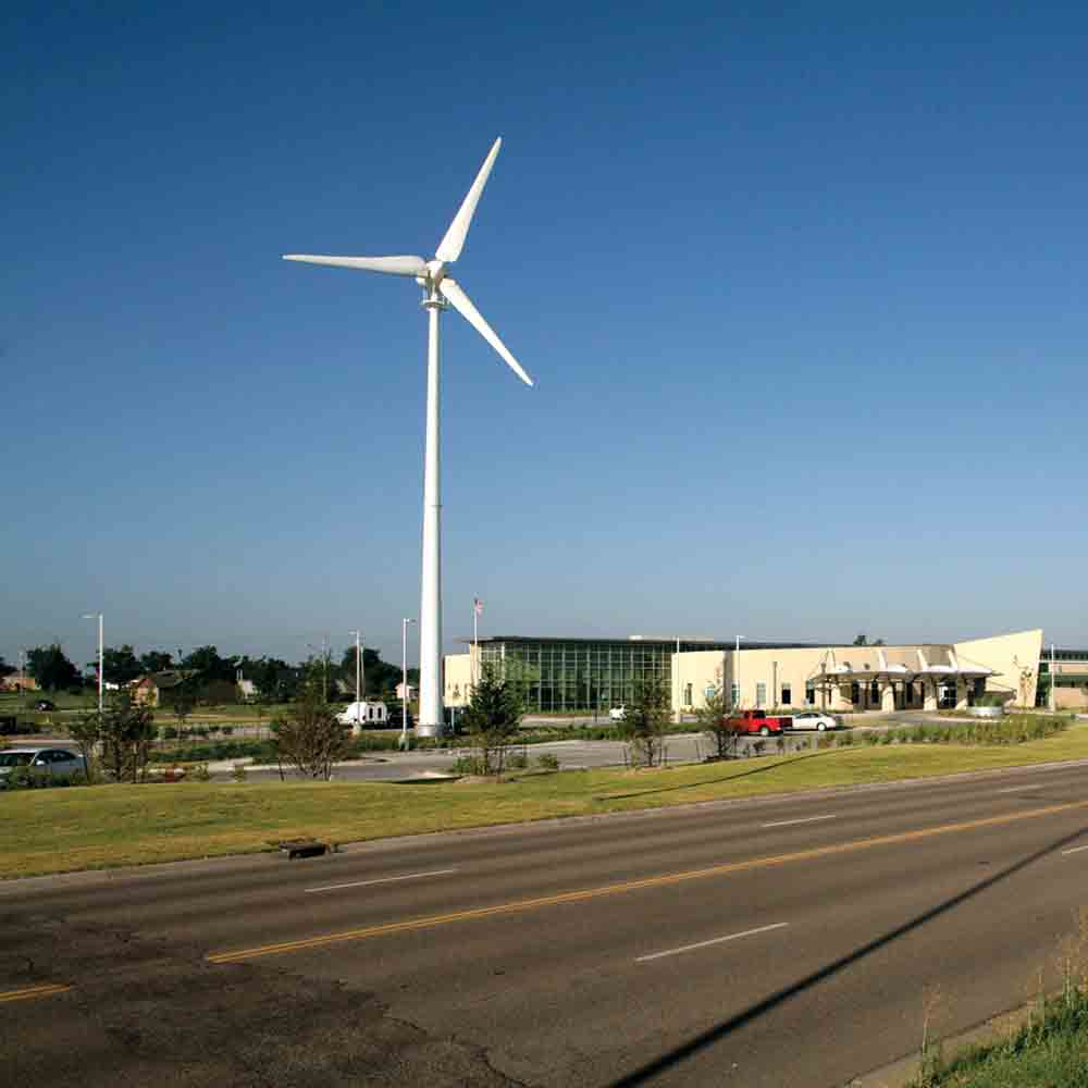 Kiowa County Memorial Hospital in Kansas rebuilt after a massive 2007 tornado with a 100 percent renewable wind energy system. Health Care Without Harm works to reduce the environmental footprint of the health care sector.
