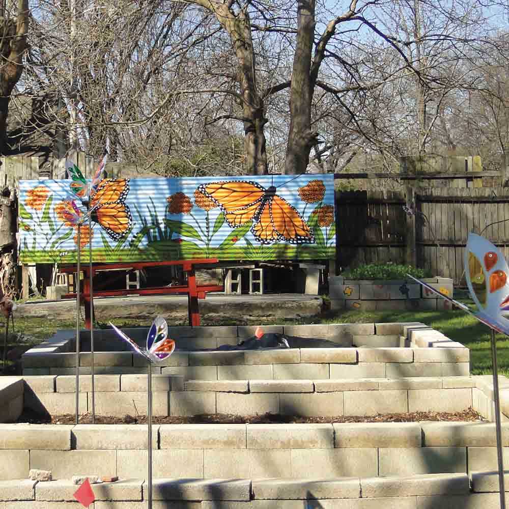 A public art installation in a Memphis community learning garden.